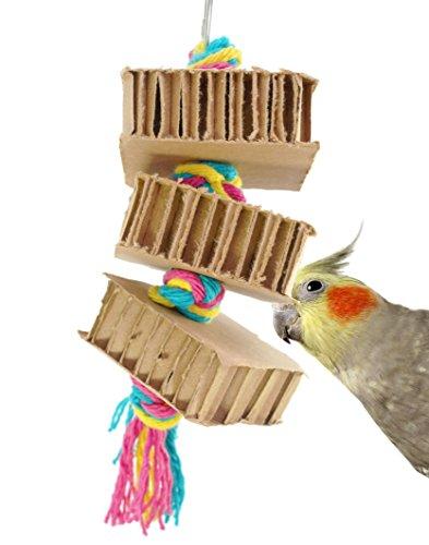 50074 Blocks'n'Knots Bird Toy Parrot cage Toys Cages preening Cockatiel Conure (Cardboard Bird Toys)
