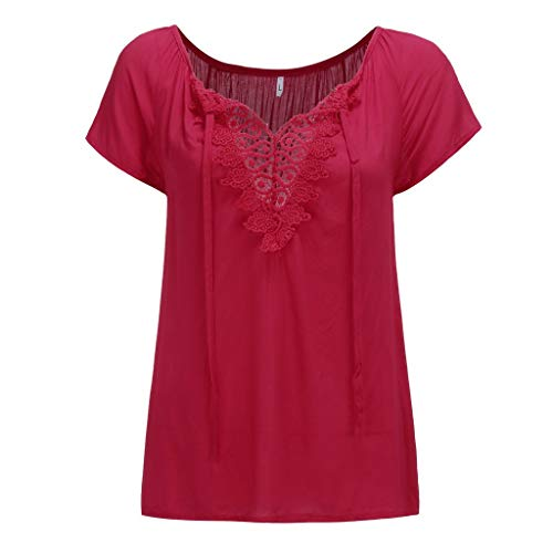 YOCheerful Women Tops Off Shoulder Lace T-Shirts Short Sleeve Shirt Elegant Flowy Tops (Red, 3XL) ()