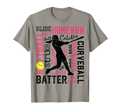 - Softball T Shirt For Girls Women Gift Batter Pitcher Catcher