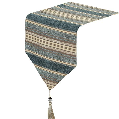 Yoovi Home Linen Modern Chenille Striped Table Runner with Tassels 13'' W x 82'' L (Teal Blue/Beige) Blue Stripe Chenille Fabric