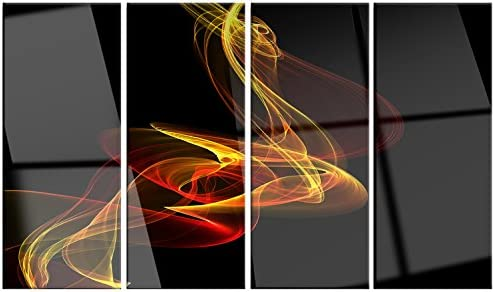 Designart MT14161-271 Red Yellow Twisted Waves Fractal Large Abstract Glossy Metal Wall Art