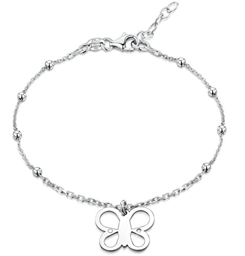 - Amberta 925 Sterling Silver Adjustable Ankle Bracelet - 1.6 mm Beaded Trace Chain Anklet with Butterfly Tag - 9