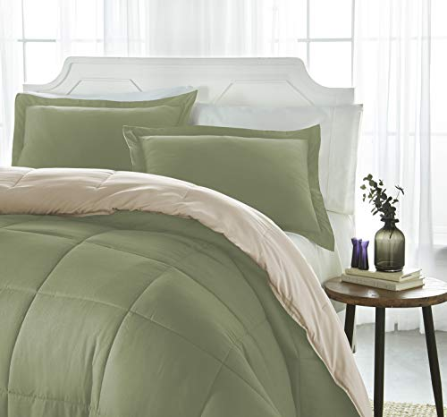iEnjoy Home Collection Down Alternative Reversible Comforter Set -King -Sage/Ivory ()