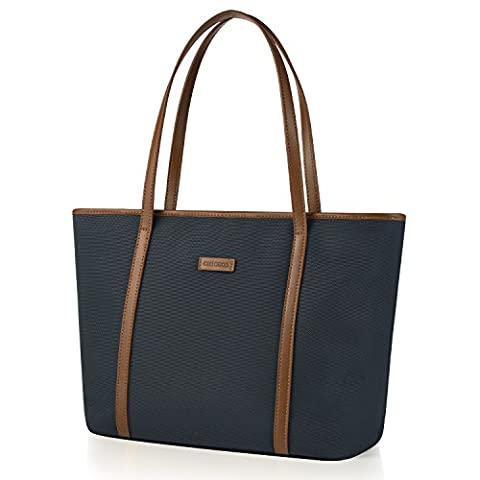 CHICECO Women's Travel Tote Shoulder Bag, Fits to 14-Inch Laptops- Blue+Brown