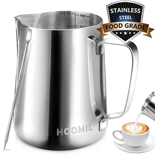 Milk Frothing Pitcher, HOOMIL Stainless Steel Espresso Steaming Pitcher 32OZ/900ML Coffee Milk Frother Cup with…