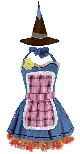 Ecilu Women's Sunflower Scarecrow Dress Costume Cosplay Theme Party Costume Halloween Fancy Dress Blue (Womens Scarecrow)