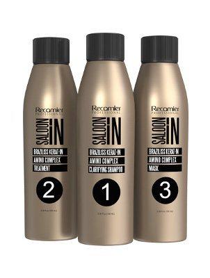 Keratin Braziliss Salon In Recamier Professional Treatment Professional No Formol, No Frizz, No Damage the Hair 3.4ounces (100 mililiter) x 3
