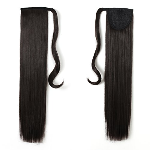 Onedor 24 Straight Wrap Around Ponytail Extension for Women. Premium Synthetic Fiber 120g-130g (4#-Dark Brown)
