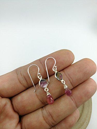 Watermelon Tourmaline Earrings (Raw Watermelon Tourmaline Earrings,Pink Tourmaline Earrings,925 Sterling Silver Earrings,Drop length 3.2 cm,EWTP)