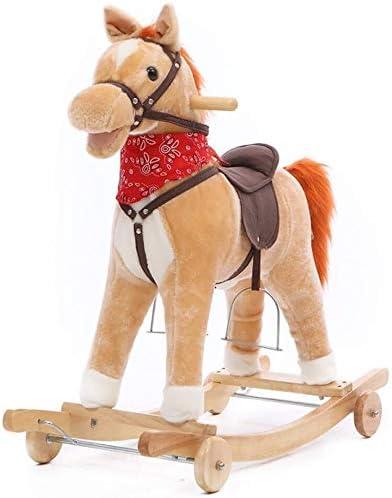 Caballito Balancín Rockeros Correpasillos bebé mecedora de madera Caballo 2 en 1 felpa de ruedas 12-60 meses Niños And Music Kid niño de dibujos animados del asiento niñas Juguetes for niños suave Roc