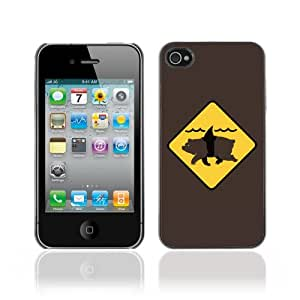 JinStore Hard Case Cover for Apple iPhone 4 / 4G / 4S / Funny Brin Shark Illustration