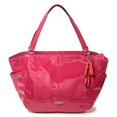 COACH Park Patent Leather Carrie Tote - Raspberry