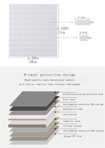 YOMM 5PCS 3D solid brick wall stickers, nano waterproof and XPE foam self-adhesive wallpaper crash soft pack bedroom living room background TV decorative art wall tiles (White) ()