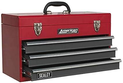 Sealey AP9243BB - Caja de herramientas portátil (incluye 3 cajones con rodamientos de bolas), color rojo y gris: Amazon.es: Bricolaje y herramientas