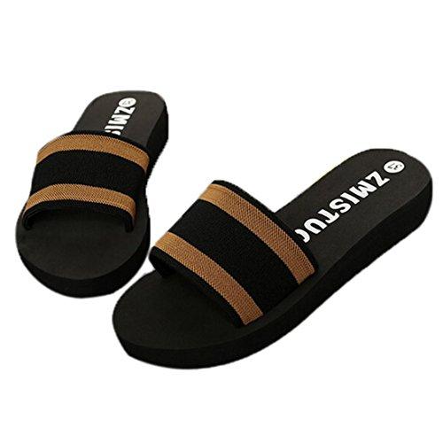Atmungsaktiv Offen Flach Stoff Strand Sommer Blockabsatz Slipper Vintage Damen Sandalen Ansenesna Flip Flop Braun Schwarz X7YA0