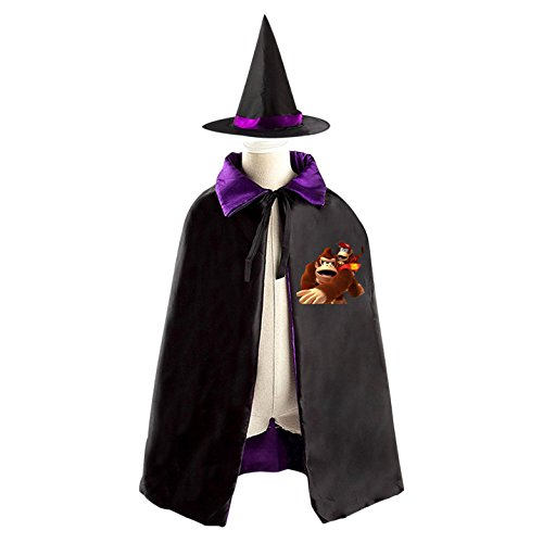 Donkey Kids Costume Kong (Halloween Donkey-Kong Wizard Witch Kids Childrens' Cape With Hat Party Costume Cloak)