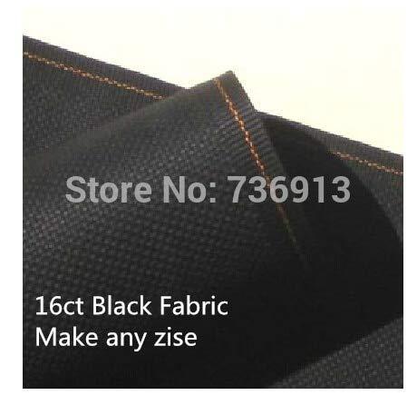 Zamtac Canvas Embroidery Aida Cloth 50X50cm Cross Stitch Fabric 16CT Or Make Any Size-Black