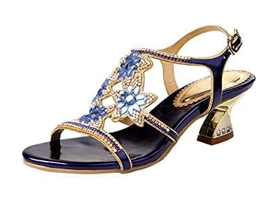 HoneyStore Women's Flower Rhinestones Louis Heel Sandals Shoes Wedding Blue 4.5 B(M) US