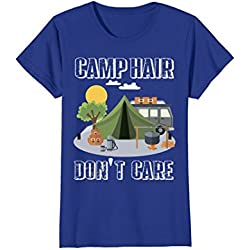 Womens Camp Hair Don't Care T-Shirt Funny Camping Gift Happy Camper Large Royal Blue