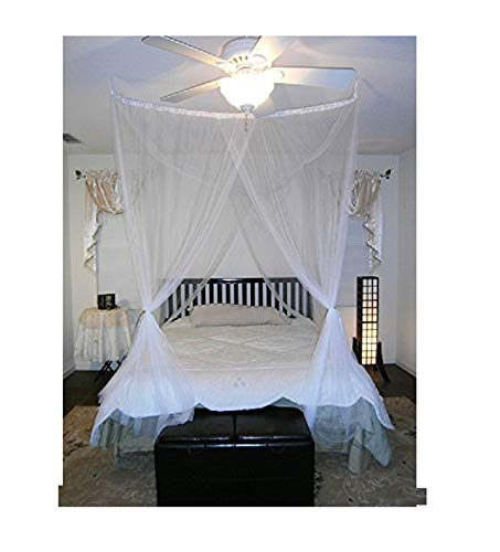 Octorose ® 4 Poster Bed Canopy Functional Mosquito Insect Netting with Canopy Pole Can Fit Crib, Twin, Twin/full Bunk Bed, Full, Queen, King and Cal King Bed (Full / Queen) by OctoRose