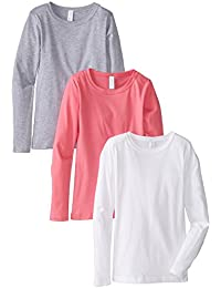3-Pack Big Girls Tween Youth Crew Neck Long Sleeve T Shirts