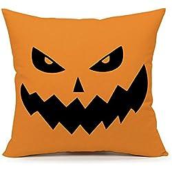 4TH Emotion Yellow Halloween Abstract Pumpkin Home Decor Design Throw Pillow Cover Pillow Case 18 x 18 Inch Cotton Linen for Sofa (1)