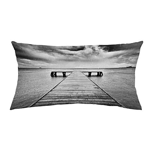 YOLIYANA Black and White Decorations Comfortable Car Headrest Pillow,Old Wooden Pier on Sea Dramatic Sky Heavy Clouds Rainy Weather Decorative for Car,One Size