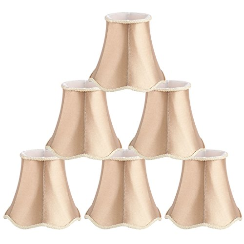 uxcell Chandelier Wall Ceiling Clip on Lamp Shades Light Cover 3x5.3x4.7 Inch, Set of 6 Champagne Color