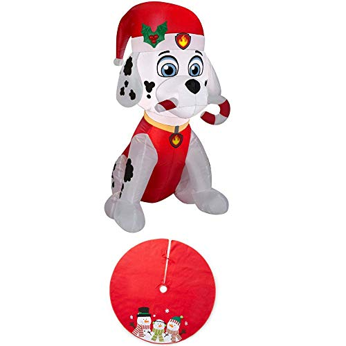 Air Inflatable Medic (EJloveshopping Holiday 3 ft. H x 1.64 ft. W Inflatable Marshall The Fire Pup Candy Cane Bonus Classic Red Christmas Snowman Felt Tree Skirt 48