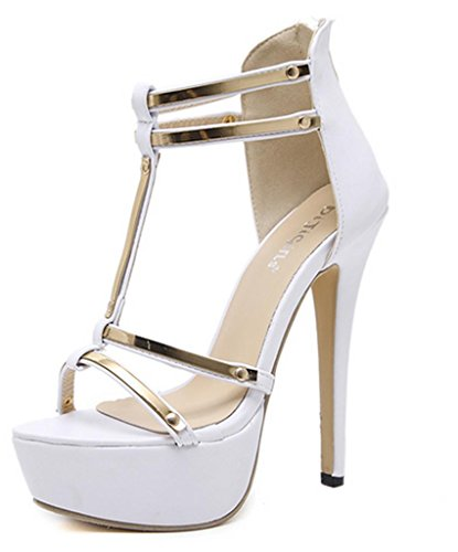 MNII Damen Damen Strass Metall Riemen Plattform High Heels Pumps Classic Court Schuhe GrößE Party Prom Hochzeit- Sommermode White