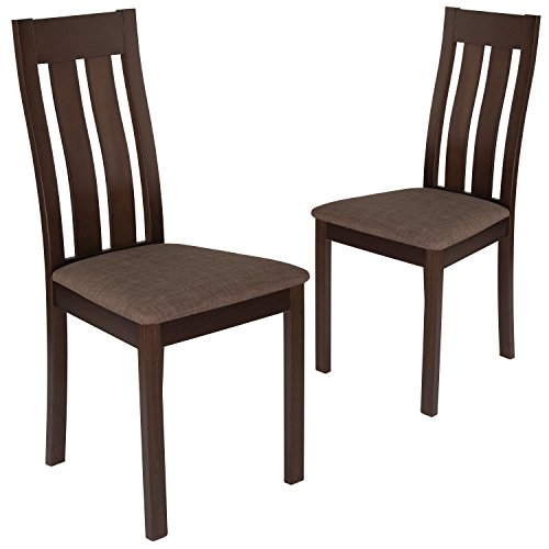 Flash Furniture 2 Pk. Milton Espresso Finish Wood Dining Chair with Vertical Slat Back and Golden Honey Brown Fabric Seat ()