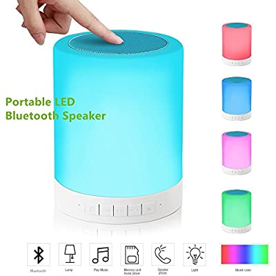Table Lamp With Bluetooth Sound,Portable Wireless Bluetooth Speakers With Colorful LED Desk Lamp, Smart Touch Children's Bedside Night Light Speakerphone,Camping Tent Light from ONETWO