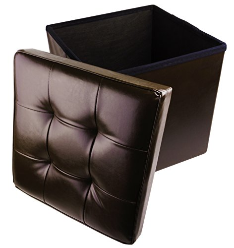 Faux Leather Folding Cube Storage Ottoman with Padded Seat, 15