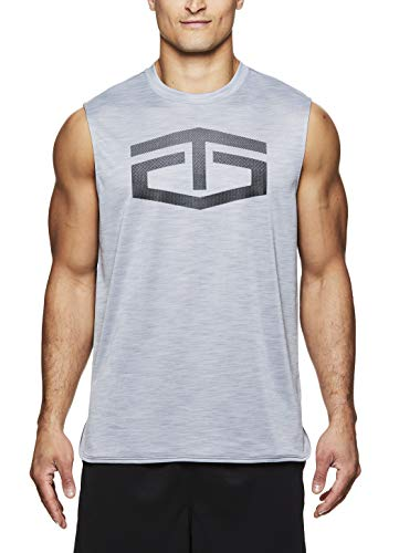 TapouT Men's Muscle Tank Top - Sleeveless Workout & Training Activewear Shirt - Battle Muscle Sleet Heather, Small
