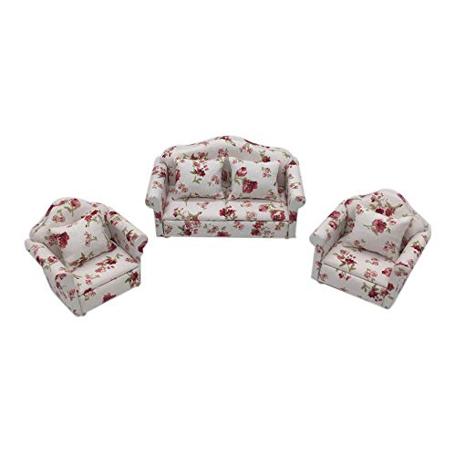 Hot  Dollhouse Accessories Mini Furniture Sofa Set Miniature Living Room Kids Pretend Play Toy for 1:12 Doll House (red) (Living Set Room Miniature)