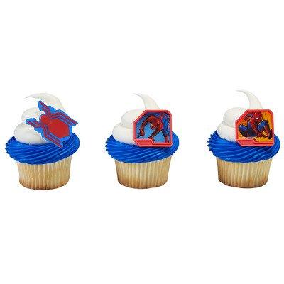 Spiderman Homecoming Cupcake Rings - 24 pc