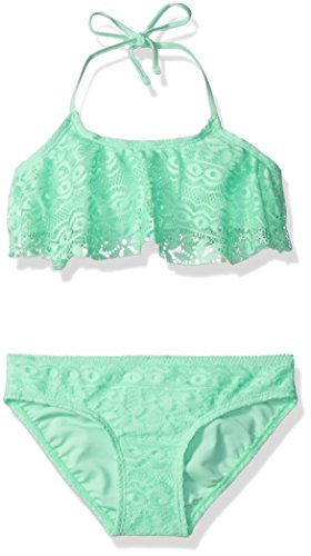 Price comparison product image Gossip Girl Big Girls' Gypsy Crochet Two Piece Flounce Bikini Swimsuit, Sea Breeze, 14