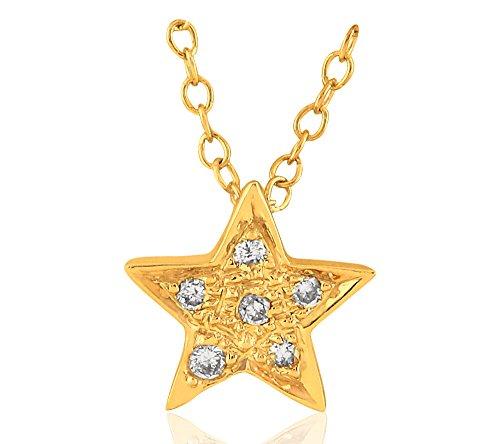 Or Jaune 14 ct Pendentifs Diamant en forme de étoile, 0.07 Ct Diamant, GH-SI, 0.53 grammes.