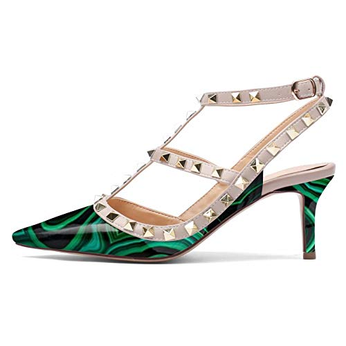 CAITLIN-PAN Women's Stud Kitten Heels Pointed Toe Studded Strappy Slingback Buckle Heels 2.5 Inches Leather Pumps Stilettos Sandals Green Patternt Size 9 US