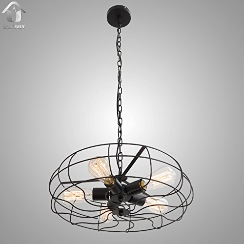 UNITARY BRAND Vintage Barn Metal Hanging Ceiling Chandelier Max. 200W With 5 Lights Painted Finish