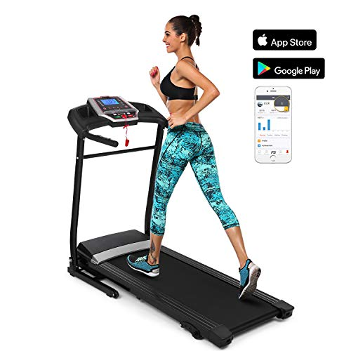 Folding Treadmill Electric Incline Running Machine Low Noise Space Saving with Soft Drop System for Home Gym (2.25HP-APP Black)