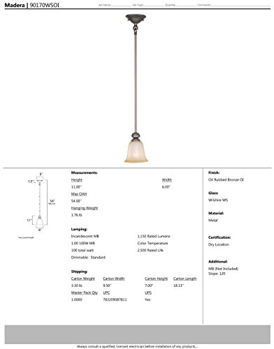 Maxim 90170WSOI Madera 1-Light Mini-Pendant, Oil Rubbed Bronze Finish, Wilshire Glass, MB Incandescent Incandescent Bulb , 60W Max., Dry Safety Rating, Standard Dimmable, Glass Shade Material, 7094 Rated Lumens by Maxim Lighting (Image #1)