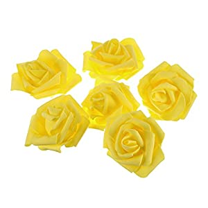 WINOMO Artificial Foam Roses Heads Flower Bouquets for Home Wedding Decoration (Yellow) - 50Pcs 18