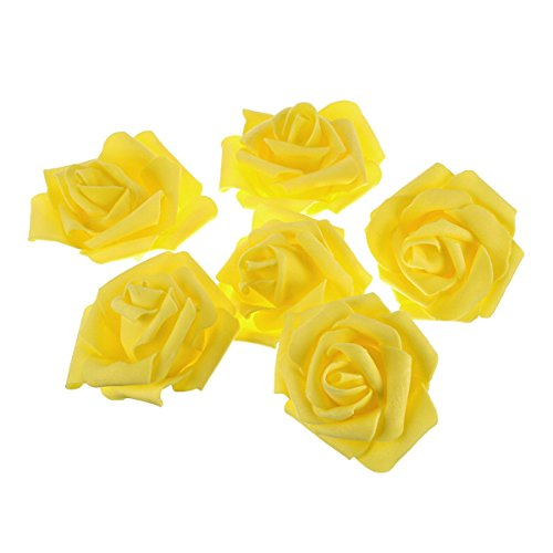 Tinksky Artificial Foam Roses Flowers for Home Wedding Decoration Bridal Shower Favor,Pack of 50 (Yellow)