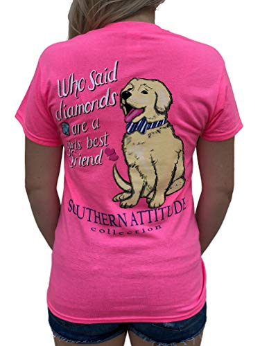 (Southern Attitude Who Said Diamonds are a Girls Best Friend Dog Pink Women's Short Sleeve T-Shirt (X-Large))