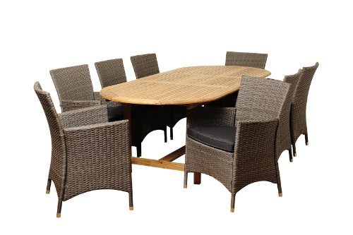 Amazonia Teak San Diego 9-Piece Teak/Wicker Oval Extendable Dining Set with Grey Cushions (San Diego Furniture Outdoor Wood)