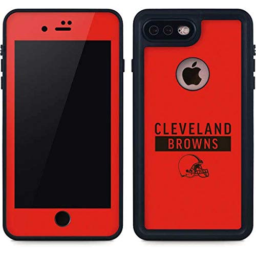 Skinit Cleveland Browns iPhone 8 Plus Waterproof Case - Officially Licensed NFL Phone Case - Waterproof iPhone 8 Plus Cover