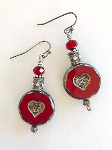 - Red Picasso Czech Glass Earrings, Large Red Coin Bead Earrings, Picasso Silvery Heart Motif, Red Picasso Glass Earrings