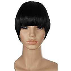 S-noiliteJet Black 7 Inches Straight One Piece Front Bangs Fringe Clip in Hair Extensions Clip Ins Hairpiece for Girls Ladies Women