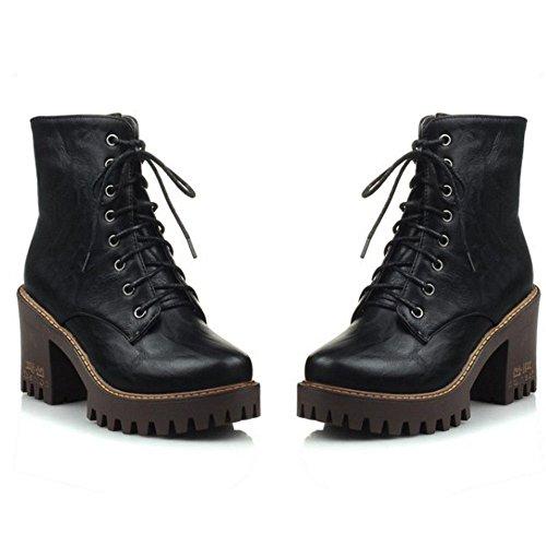 COOLCEPT Damen Freizeit Punk Boots Klassische Combat Blockabsatz Stiefeletten (34 EU, Black)
